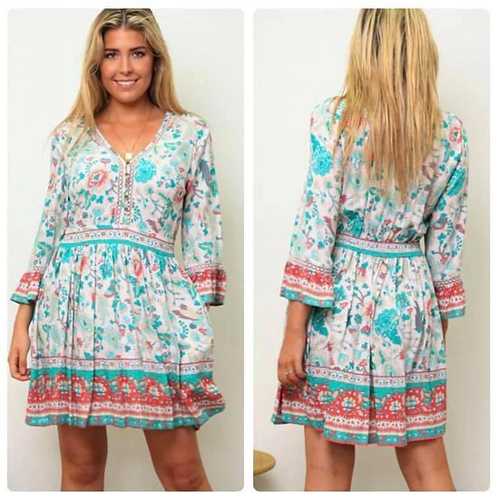 Suzanne 3/4 Sleeve Mini Dress!