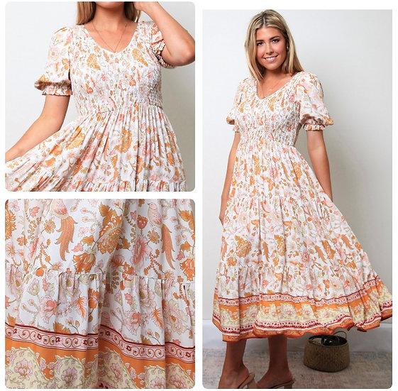 Lucille V-Neck Midi Dress!
