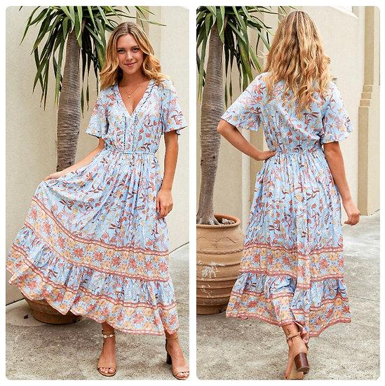 Katrina V-Neck Midi Dress!