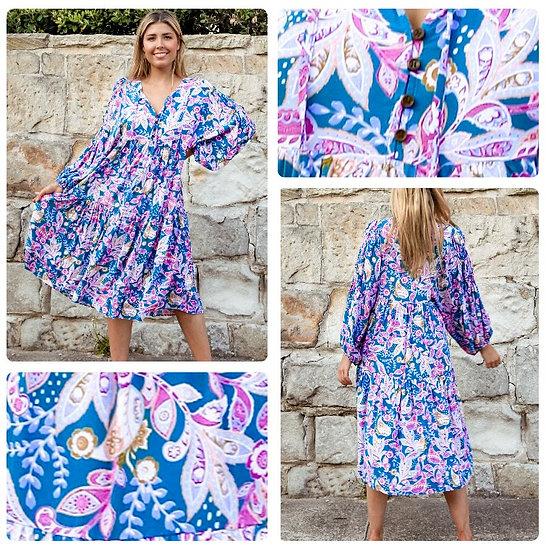 Chloe 3/4 Sleeve Midi Dress!