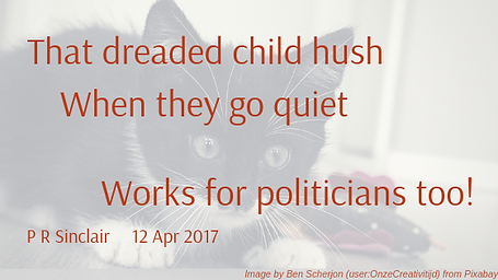 That dreaded child hush   When they go quiet   Works for politicians too!     P R Sinclair 2017-04-12