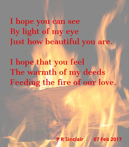 I hope you can see   By the light of my eye   Just how beautiful you are.     I hope that you feel   The warmth of my deeds   Feeding the fire of our love.     P R Sinclair 2017-02-07