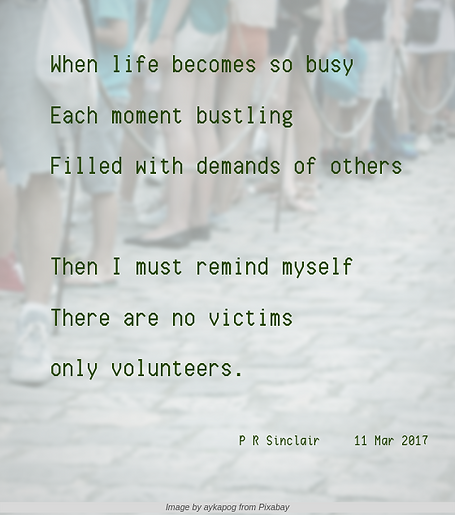 When life becomes so busy   Each momentbustling   Filled with demands of others     Then I must remind myself   There are no victims   only volunteers.     P R Sinclair 2017-03-11