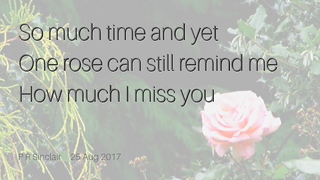 So much time and yet   One rose can still remind me   How much I miss you