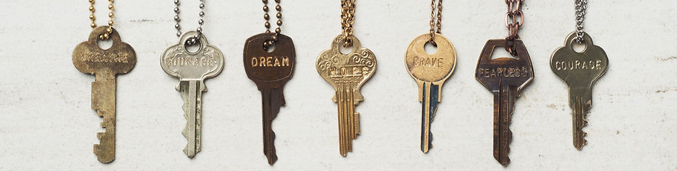 the giving keys with word engraved