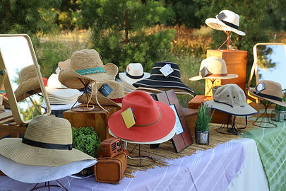 table displaying hats