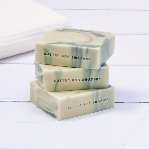 Rosemary and Peppermint scented soap bar with exfoliating pumice powder handmade by Butter Bar Soapery in London UK