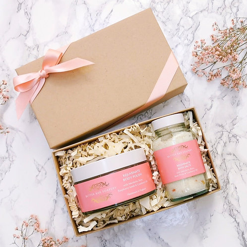 Butter Bar Soapery Rejuvenate Spa Pamper Gift Set with floral rose and mandarin, luxury self care and wellness gift package