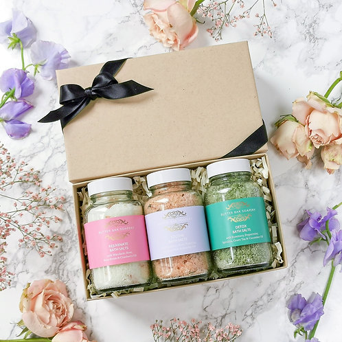 Butter Bar Soapery Mini Bath Salt Collection Gift Set with 3 natural handmade luxury bath salts great for mum on mothers day