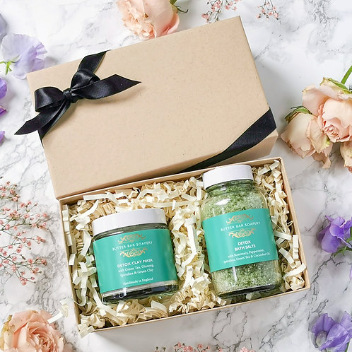 Butter Bar Soapery Detox Pamper Face Mask & Bath Gift Set perfect for new mum, dad, sensitive skin, green clay gift set, UK