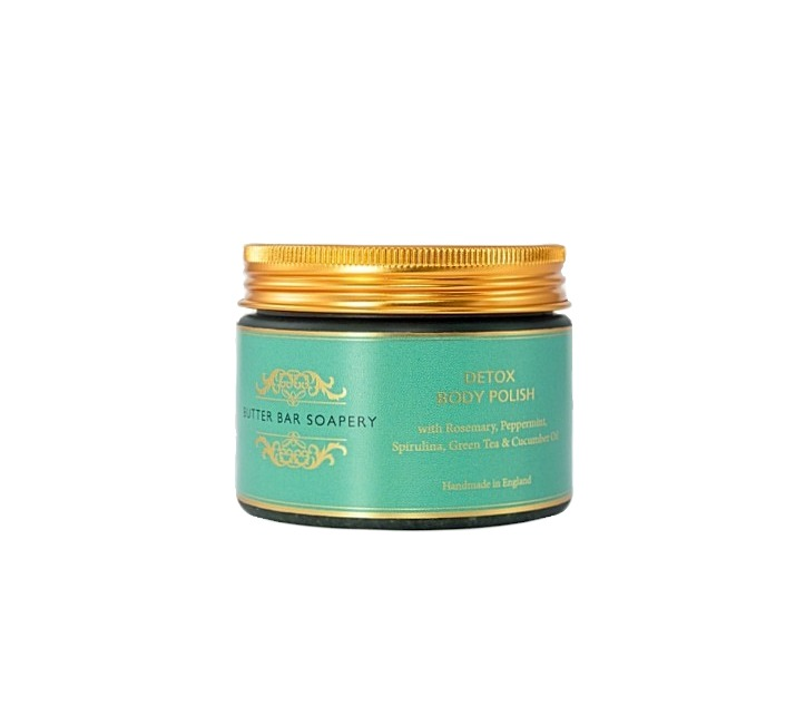 A refreshing Detoxifying body polish with shea butter, spirulina, green tea and cucumber oil including other incredible plant based ingredients makes this a super soothing, calming and skin smoothing salt scrub leaving you feeling refreshed with its peppermint and rosemary essential oil blend