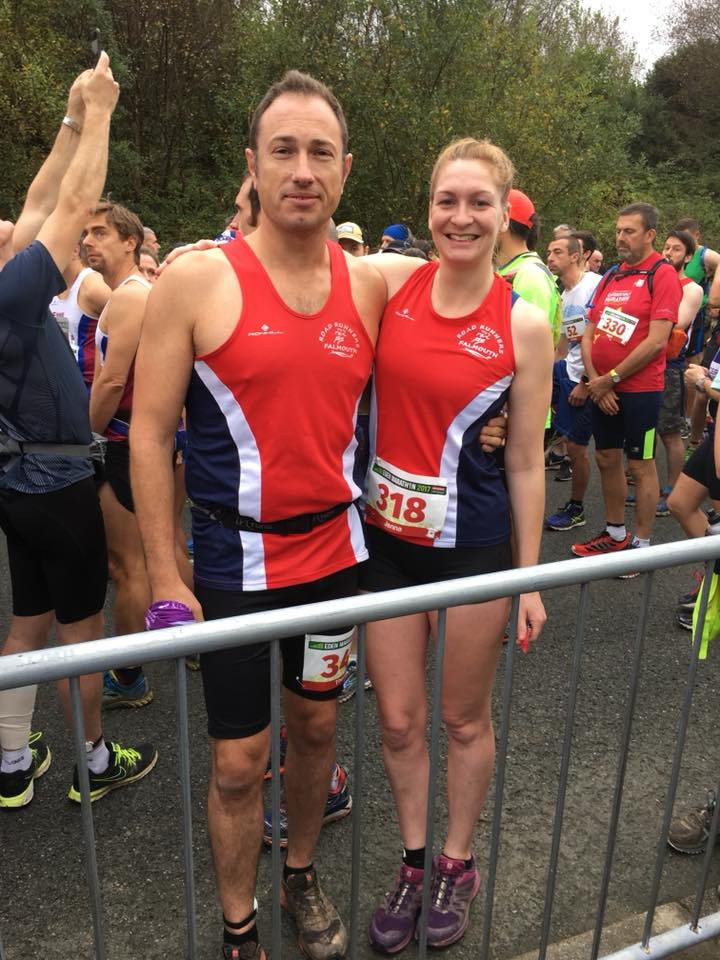 Jenna and Tom nervously anticipating the start of the full marathon