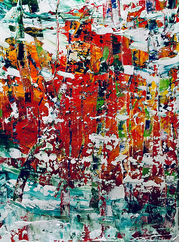 Maria-Victoria Checa Art | Washington, D.C. | Abstract Artwork - Forest Fire in a Snow Storm