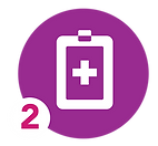 icon of a clipboard with a cross shape symbolizing health history forms