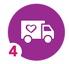 icon of a truck with a heart shape symbolizing donating milk