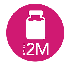 icon of bottle with text that says over 2 million ounces of donor milk dispensed