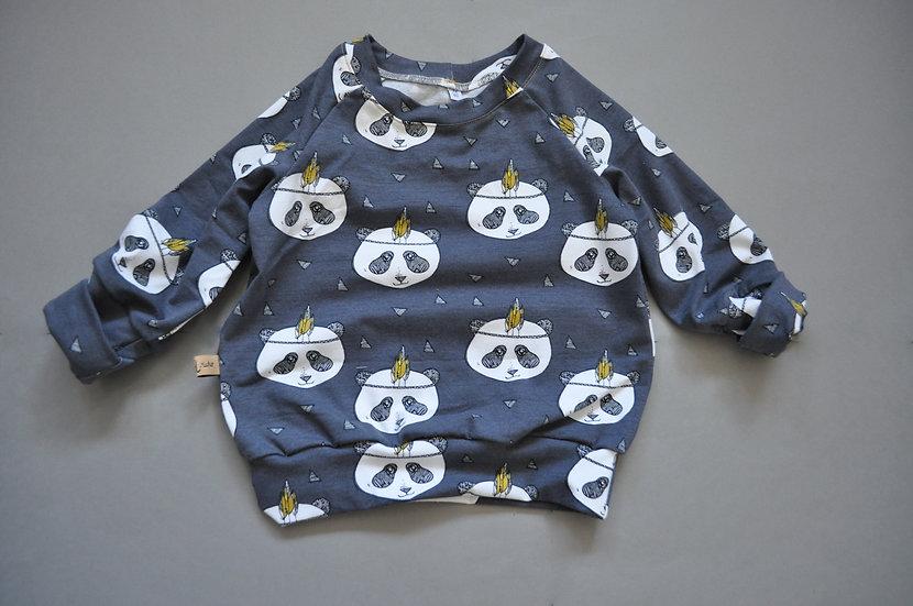 "Raglan-Shirt aus Bio-Jersey ""pandas dunkelgrau"""