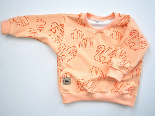 "oversized Sweatshirt ""apricot swans"""