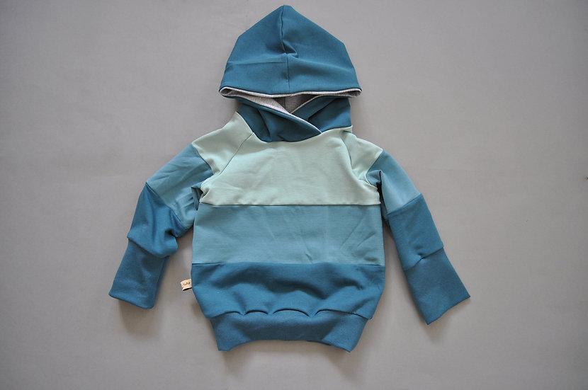 """Colorblocked-Hoodie """"blaue Töne"""""""