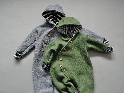 "Baby-Winter-Overall aus Wollwalk ""mossgrün oder grau meliert"""