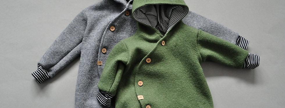 """Baby-Winter-Overall aus reiner Schurwolle """"mossgrün oder grau meliert"""""""