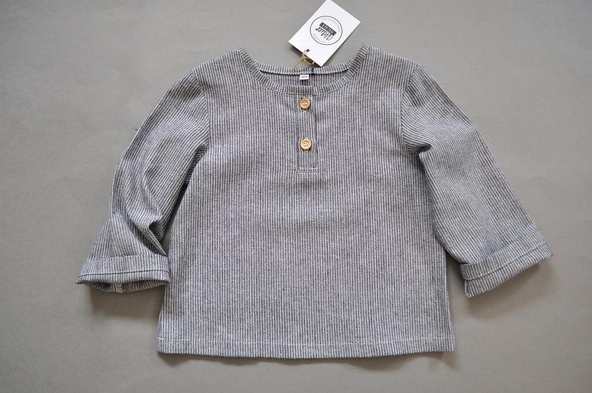 """Michelhemd aus Leinen """"grau / schwarz Streifen"""""""