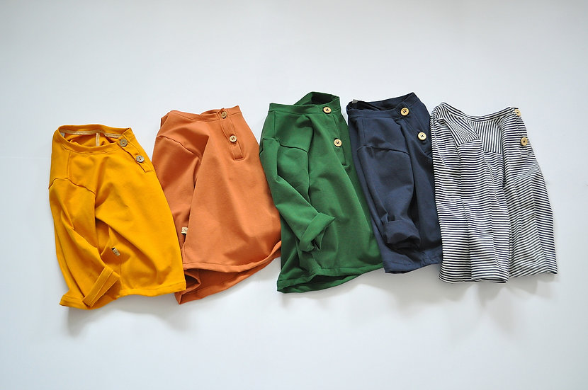 """JerseyShirt mit Knopfleiste  """"verschd. Farben"""""""