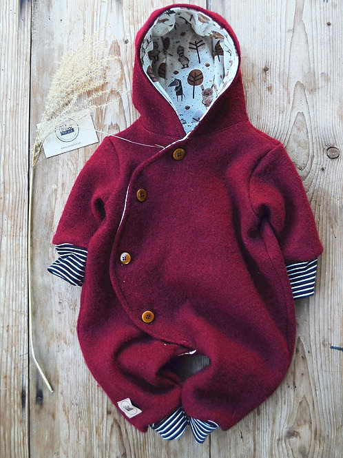 "Baby-Winter-Overall aus Wollwalk""bordeaux"""