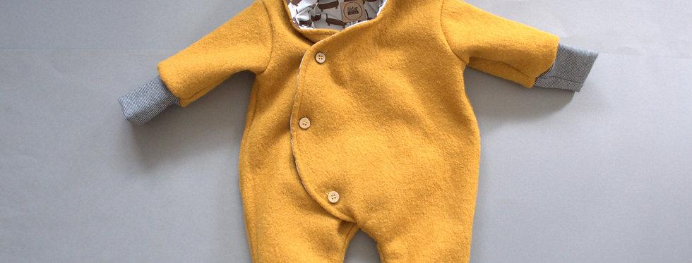 """Baby-Winter-Overall aus reiner Schurwolle gefüttert """"senf"""""""
