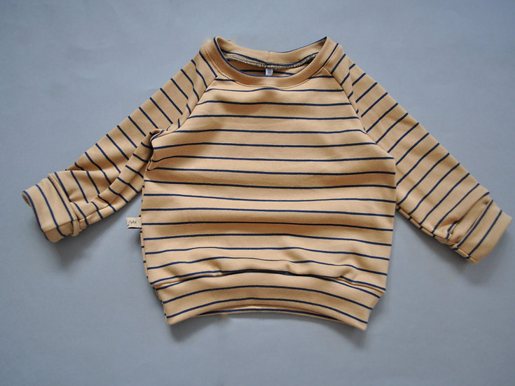 """Raglan-Shirt aus Bio-Interlockjersey """"Ringel creme/navy"""""""