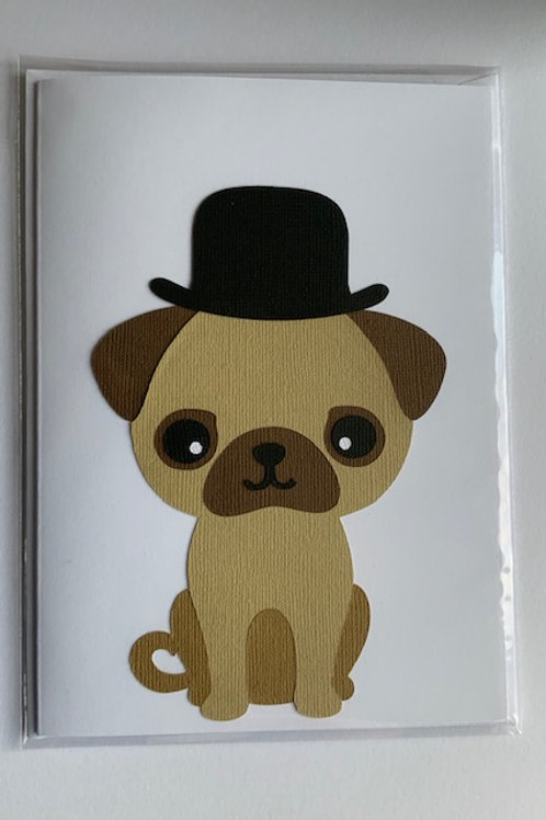 Dog bowler hat card