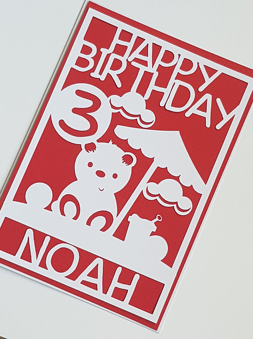 Personalised Bear Birthday Card