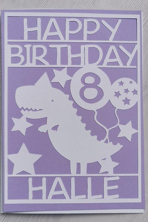 Purple dinosaur card