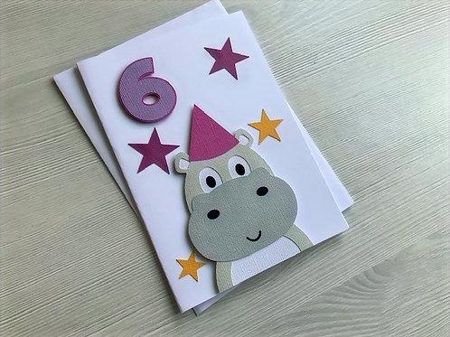 Happy hippo Birthday card