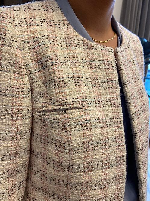 Size 6: Boucle tweed cropped jacket