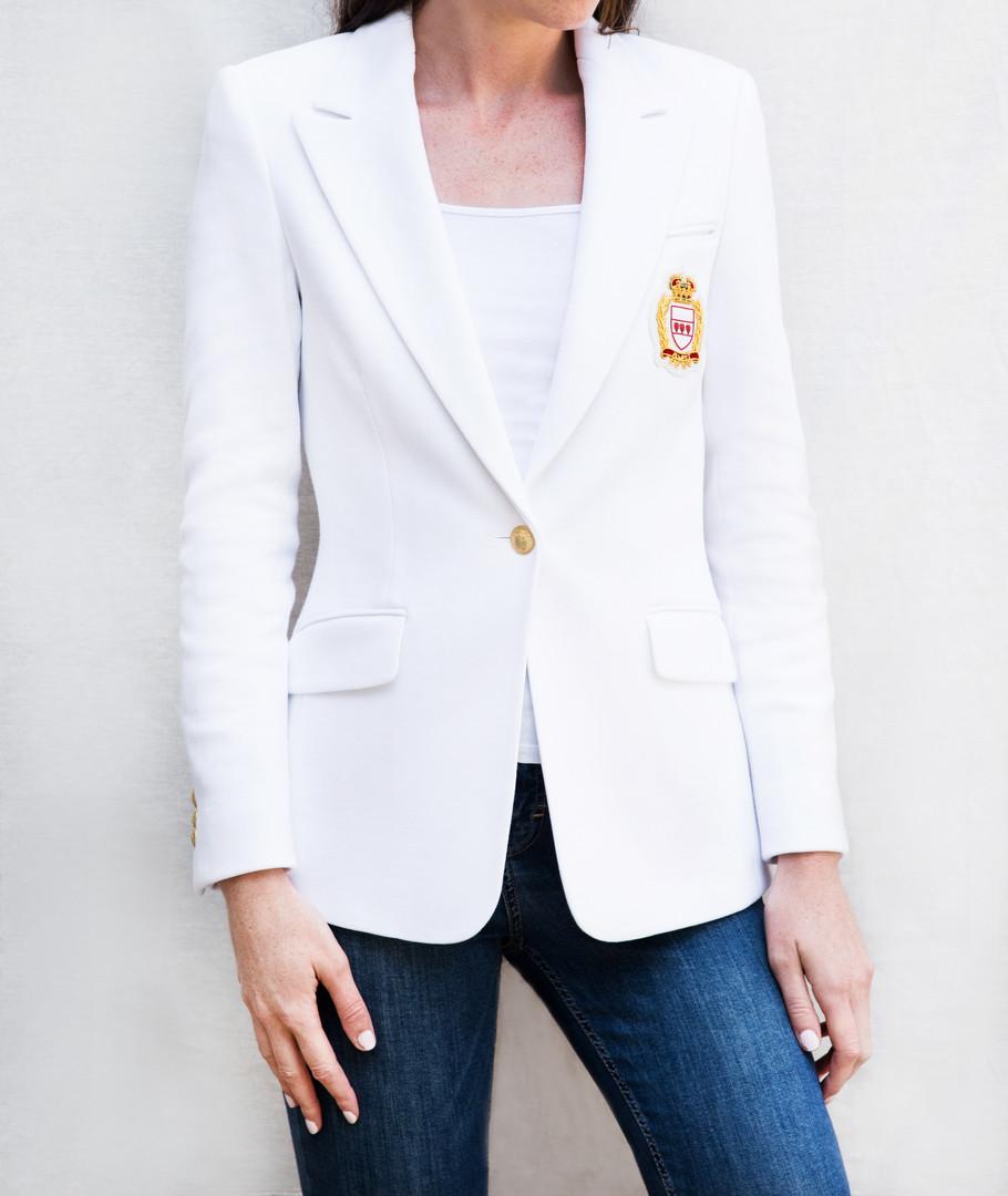 G&G White Cotton casual blazer