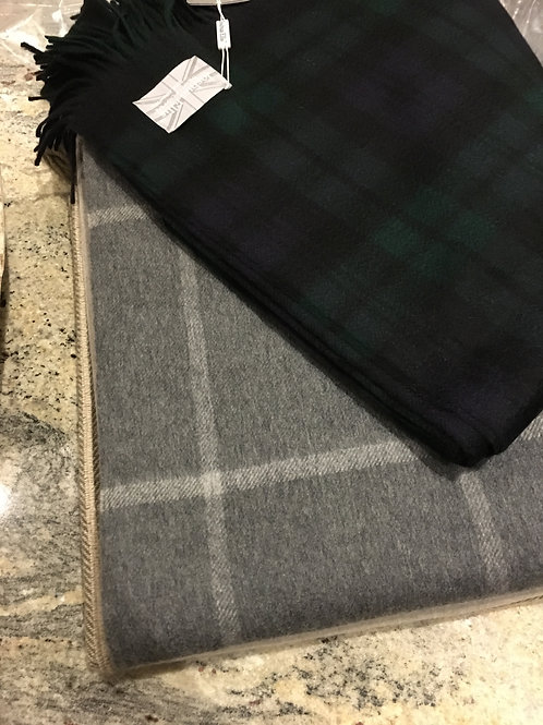 GREY AND PALE GREY WINDOWPANE  - CASHMERE BLANKET