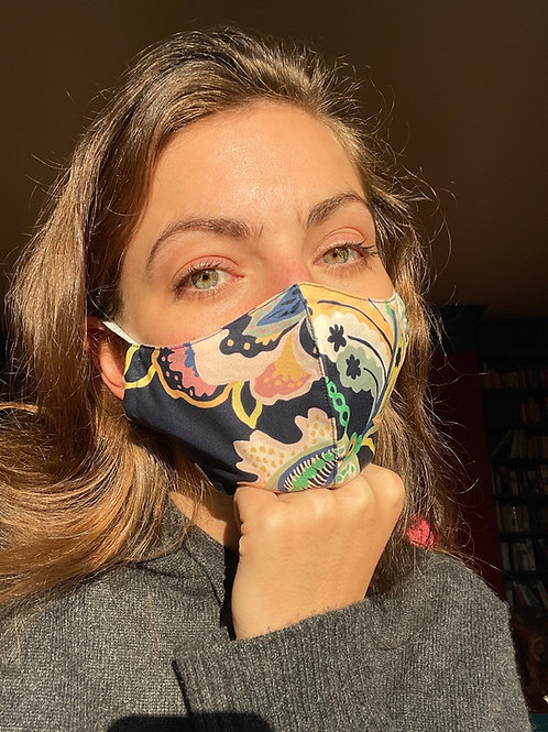 Navy Flower Power Liberty Print Covid Mask