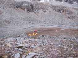 One of the camp sites surrounded by rocks