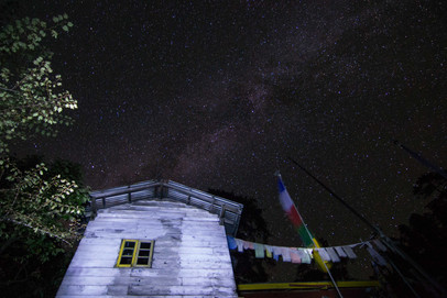 Clear night skies infron of Monestry - Tsokha