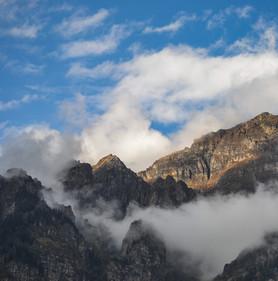 Morning rays on mountains around