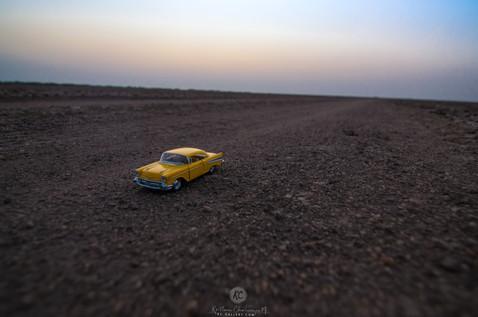 1957 Cevrolet Bel Air on dirt roads of Little Rann of Kutch