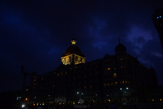 Hotel Taj under dark clouds