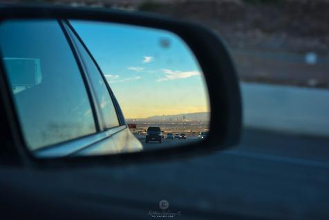 Rear view mirror sight of Vegas strip