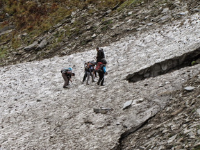 Trekking on ice is no easy task, near lower waterfalls