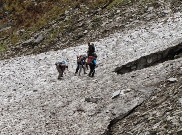 Treking on ice, near lower waterfalls