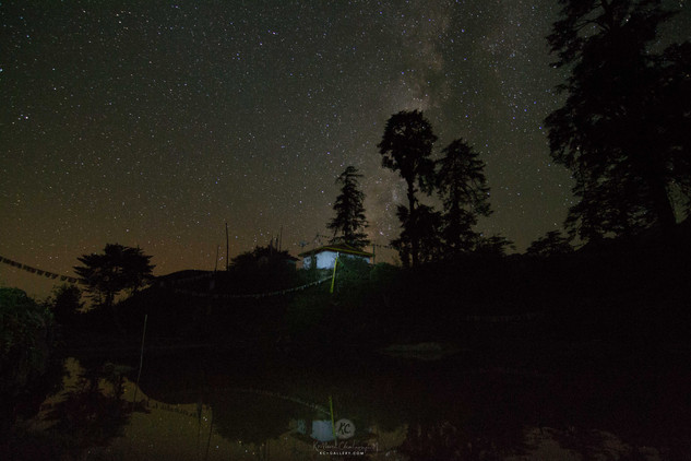 Night Sky above a Monastery and Lake