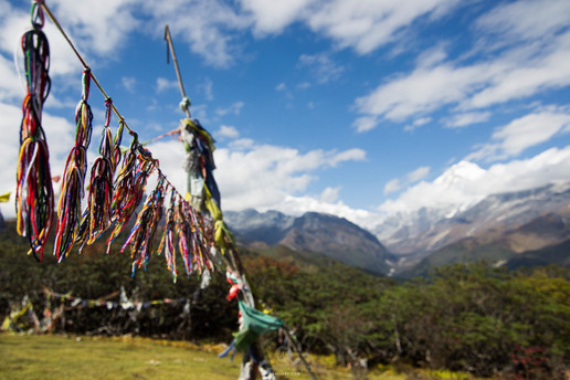 Praying flags and threads on the trail