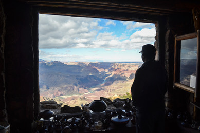 My Friend enjoying the view of Canyons from Museum