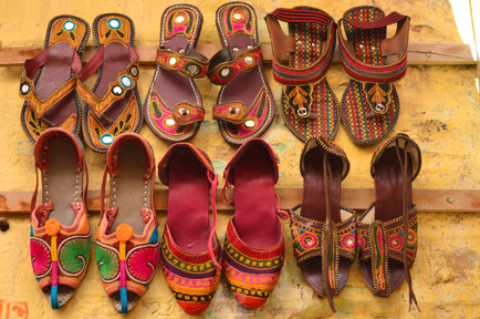 Attractive Chappals on Sale - streets inside Jaisalmer fort